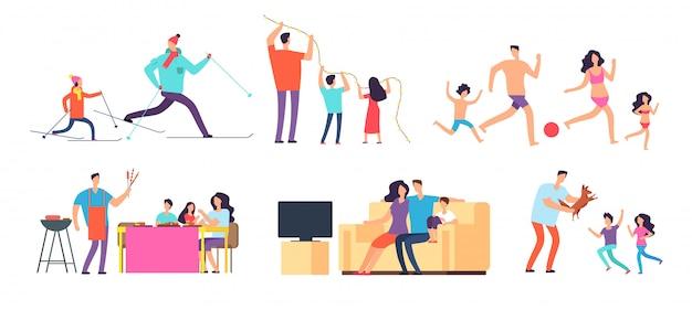 Passer Du Temps Ensemble En Famille. Maman, Papa Et Enfants à La Maison Et à L'extérieur. Vecteur Premium