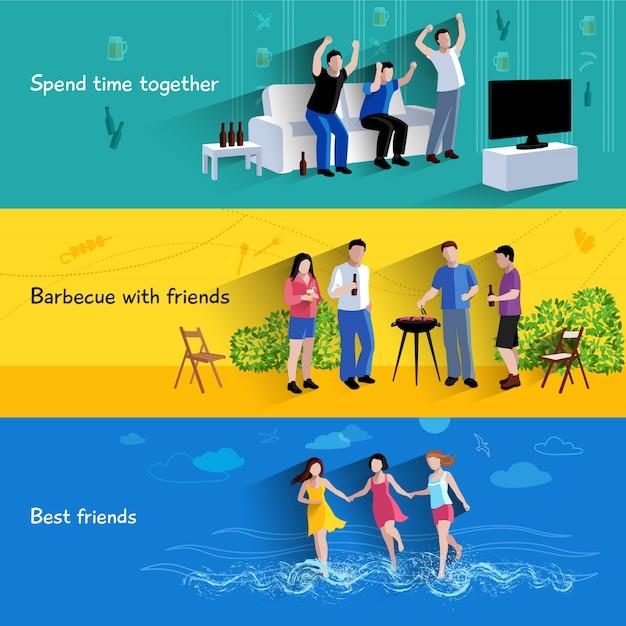 Passer du temps libre ensemble au barbecue avec les meilleurs amis 3 jeu de bannières plat Vecteur gratuit