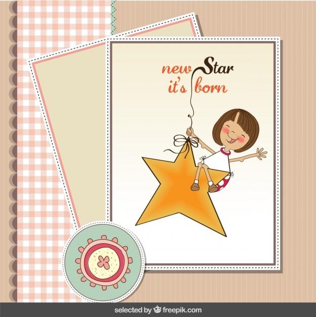 Pastel couleurs bébé carte de douche avec une étoile et une fille Vecteur gratuit