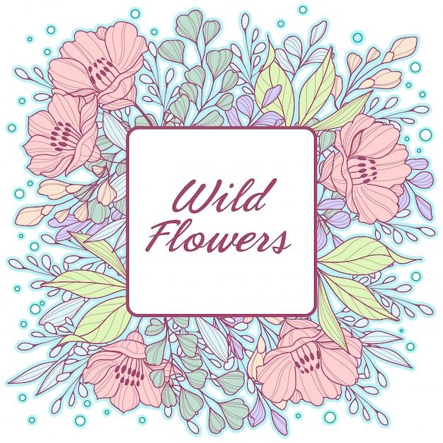 Pastel délicat, cadre de fleurs sauvages Vecteur Premium