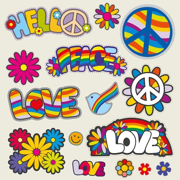 Patchs Hippie Rétro Vectoriels Emblèmes Vecteur Premium