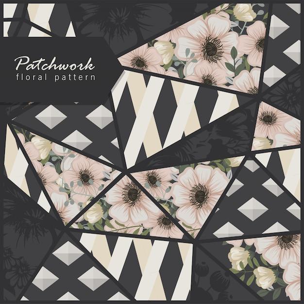 Patchwork abstrait avec des fleurs Vecteur gratuit