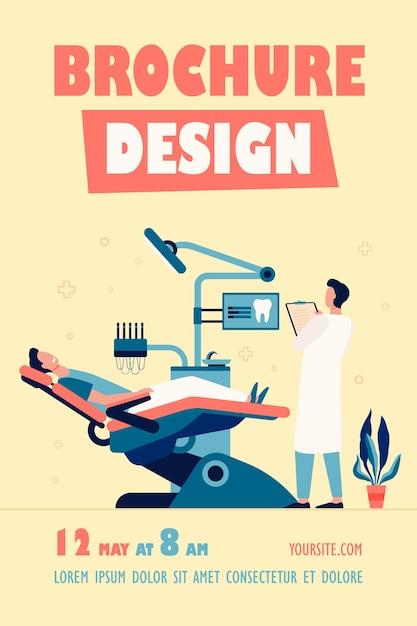 Patient Assis Dans Une Chaise Médicale Lors D'une Visite Ou D'un Traitement Modèle De Flyer Isolé Vecteur gratuit