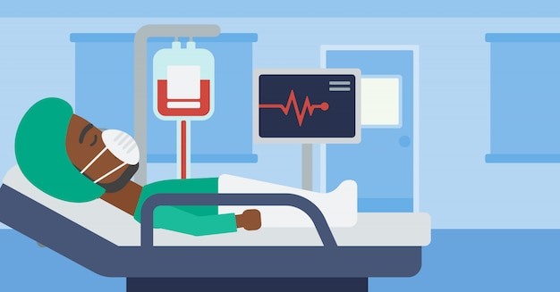 Patient couché dans un lit d'hôpital avec moniteur cardiaque. Vecteur Premium