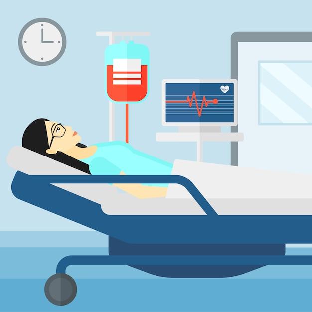 Patient Couché Dans Un Lit D'hôpital. Vecteur Premium