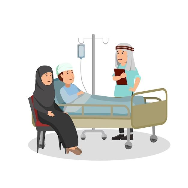 Patient examen médical par un médecin arabe Vecteur Premium