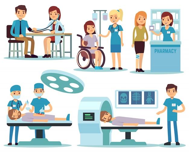 Patient médical et médecins dans le vecteur d'activité médicale Vecteur Premium
