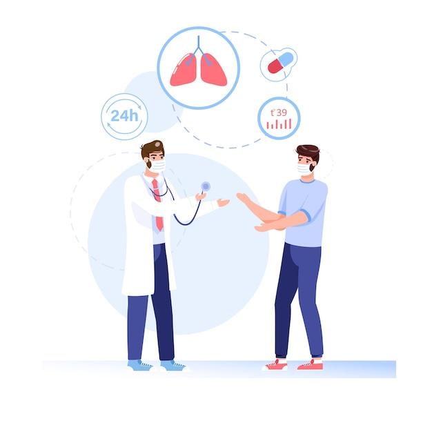 Patient De Style Plat De Dessin Animé, Personnages De Médecin Dans L'illustration De Masques Faciaux Vecteur Premium