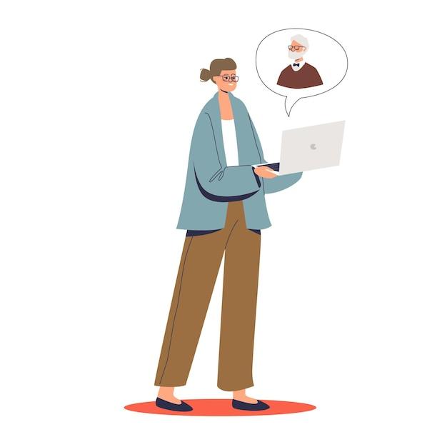 Patiente Consultant En Ligne Avec Un Psychologue Avec Ordinateur Portable Et Appel De Vidéoconférence. Concept De Consultation, De Soutien Et D'aide Psychologue En Ligne. Vecteur Premium