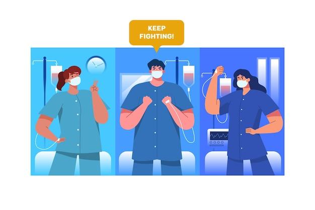 Patients Positifs Luttant Contre Le Coronavirus Vecteur gratuit