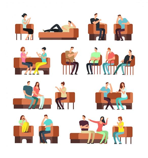 Patients et psychologue. soutien psychothérapie. les personnes stressées rencontrant le vecteur set psychiatre Vecteur Premium