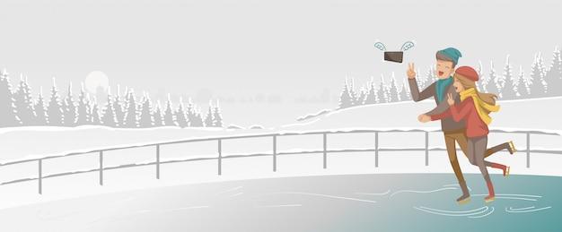 Patin à glace. jouer aux couples en patin à glace à la patinoire. les amoureux se tiennent la main. Vecteur Premium