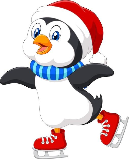 Patinage sur glace mignon pingouin Vecteur Premium