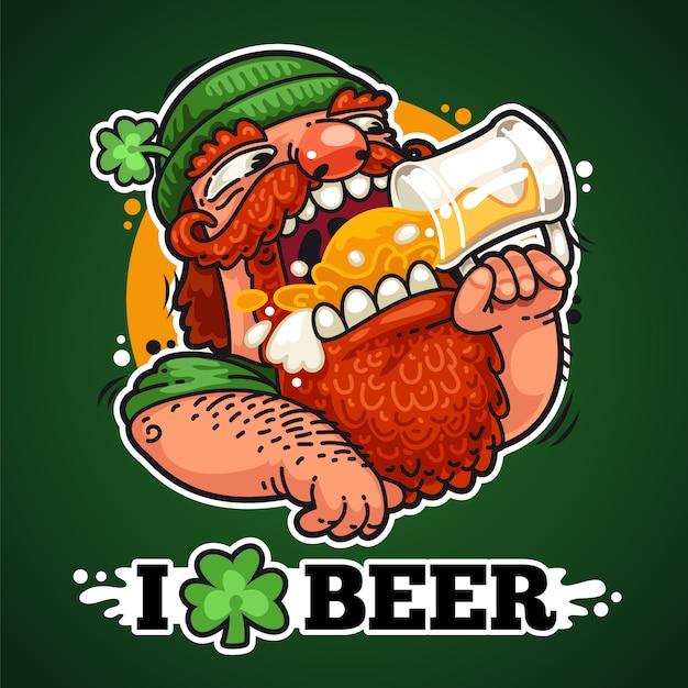 Patrick à la bière Vecteur Premium