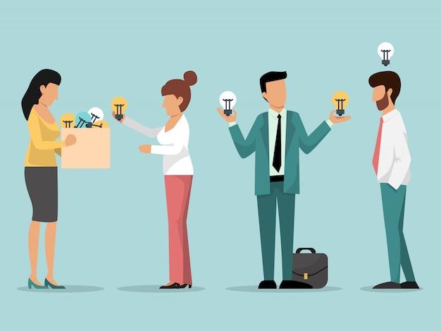 Patron Aider Les Hommes D'affaires Avec Illustration Ampoules Idée. Vecteur Premium