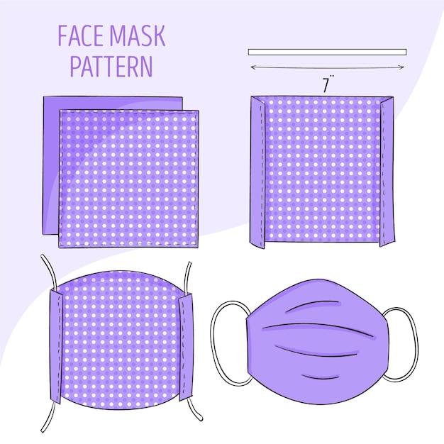 Patron De Couture De Masque Facial Vecteur gratuit