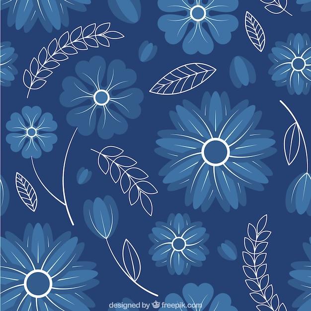 Patrón de lindas flores azules Vecteur gratuit