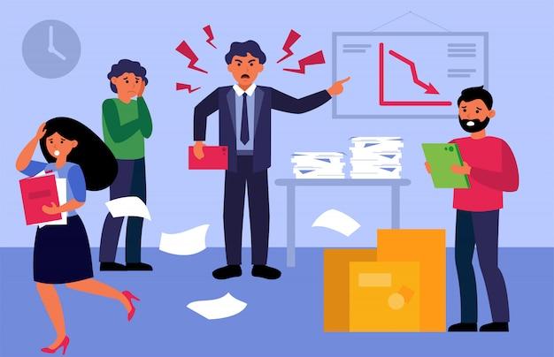 Patron Nerveux Agressif Criant Aux Employés Contrariés Vecteur gratuit