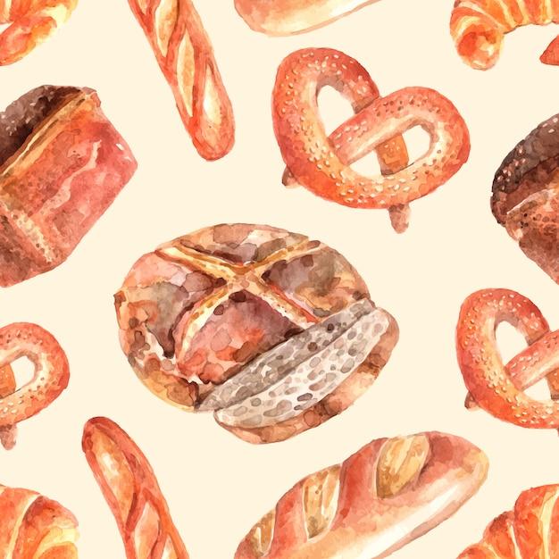 Patron de papier d'emballage sans soudure de pain de boulangerie avec le pain de blé entier rond et le bretzel Vecteur gratuit