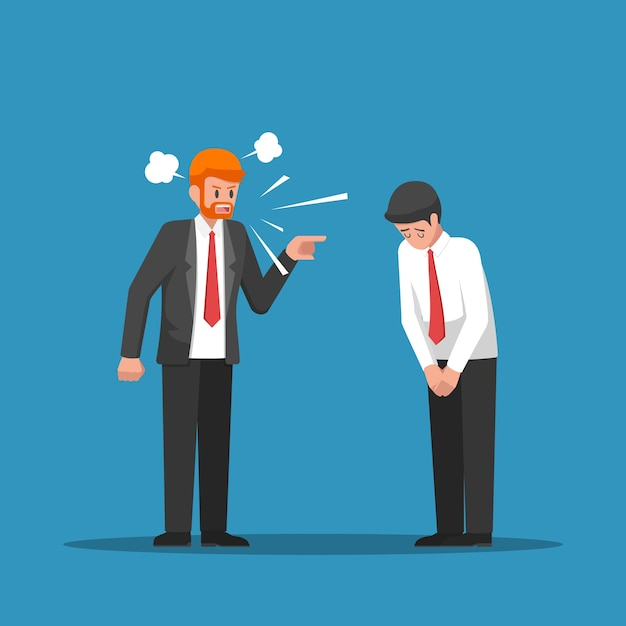 Patron se sent en colère et blâme son employé. Vecteur Premium