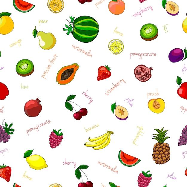 Patron transparent aux fruits frais avec une illustration vectorielle de kiwi et de grenat de pastèque aux poires Vecteur gratuit