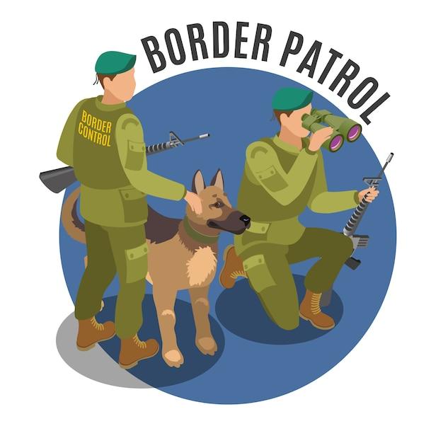 Patrouille Frontalière Avec Chien Vecteur gratuit