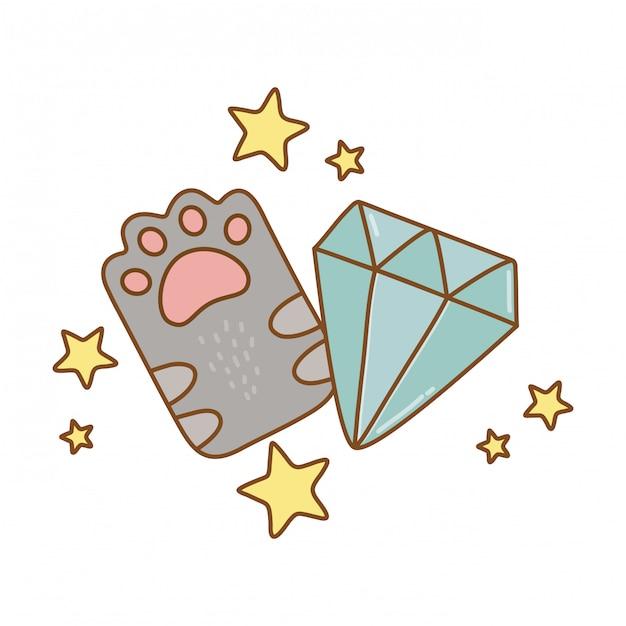 Patte De Chat Et Diamant Vecteur Premium