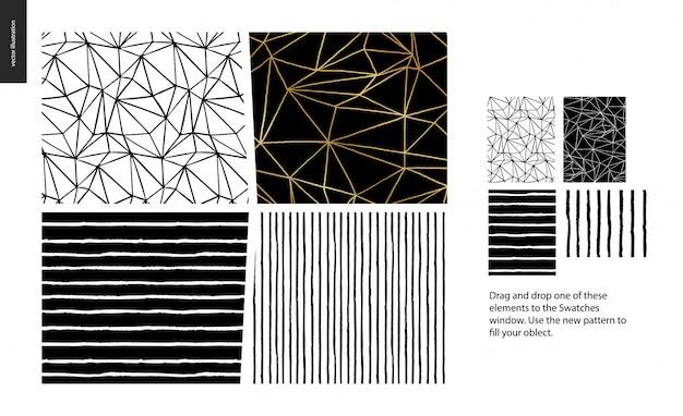 Patterns dessinés à la main - un groupe de quatre modèles abstraits sans soudure - noir et blanc. lignes géométriques, points et formes - pièces Vecteur Premium