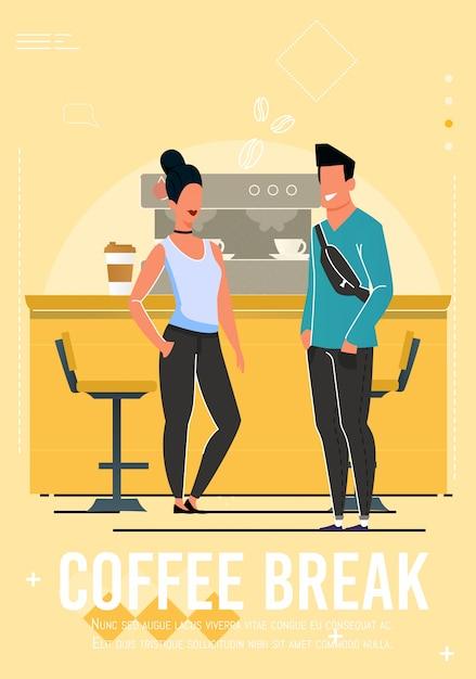 Pause café à la bannière du café avec des personnages de dessins animés Vecteur Premium