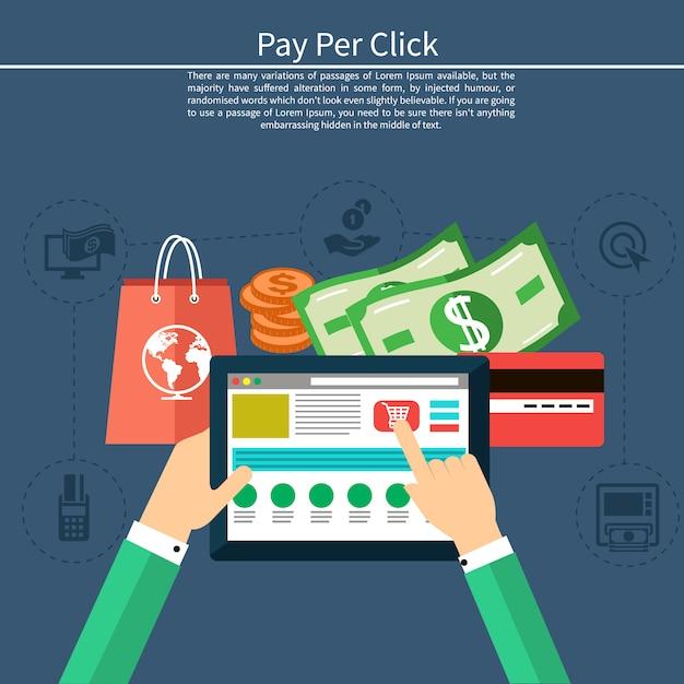 Pay per click modèle de publicité internet lorsque vous cliquez sur l'annonce. moniteur avec bouton acheter un style de bande dessinée moderne design plat Vecteur Premium