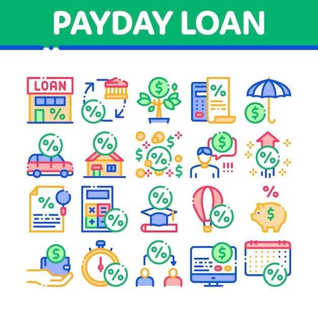 Payday loan collection elements icons set Vecteur Premium