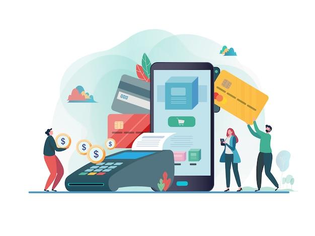Payé par carte de crédit Vecteur Premium