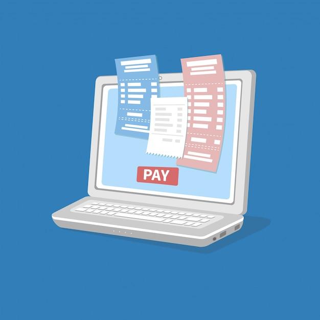 Payer Les Factures Impôt En Ligne Via Un Ordinateur Ou Un Ordinateur Portable. Vecteur Premium