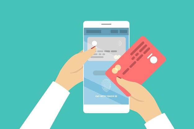 Payez Avec Touch Id. Nouvelle Technologie Pour Appareil. Vecteur Premium