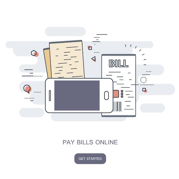 Payez vos factures en ligne Vecteur Premium