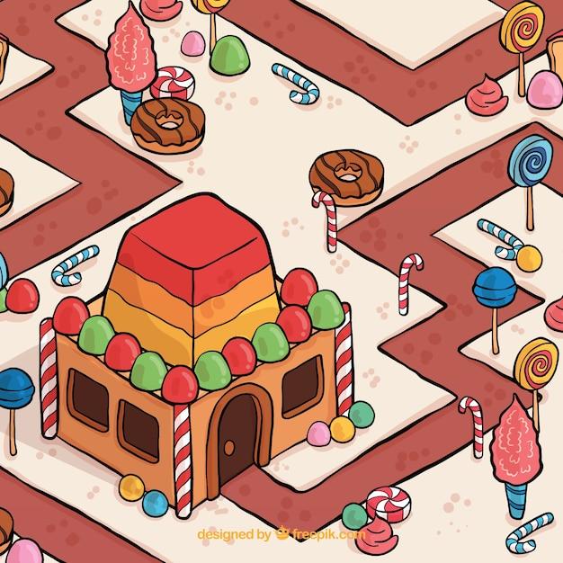Pays des bonbons dessinés à la main Vecteur gratuit