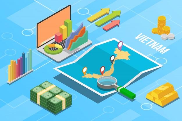 Pays en croissance de l'économie commerciale du vietnam Vecteur Premium