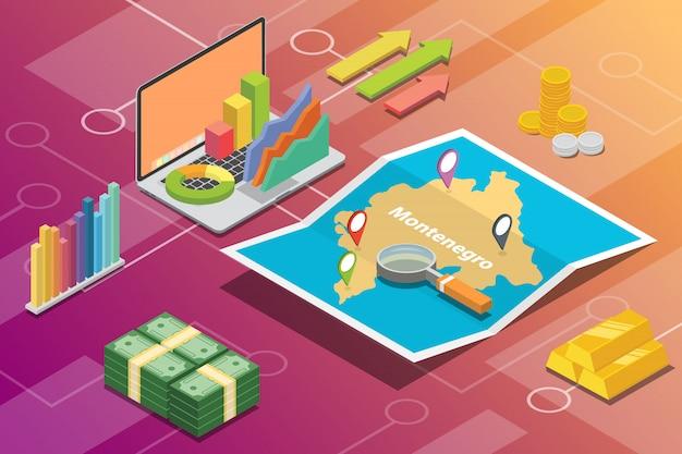 Pays à croissance économique isométrique du monténégro Vecteur Premium