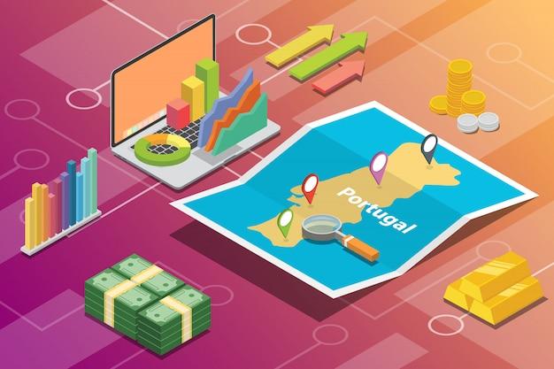 Pays à croissance économique isométrique du portugal Vecteur Premium