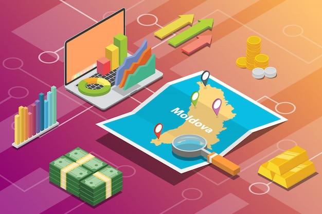 Pays à croissance économique isométrique de la moldavie Vecteur Premium