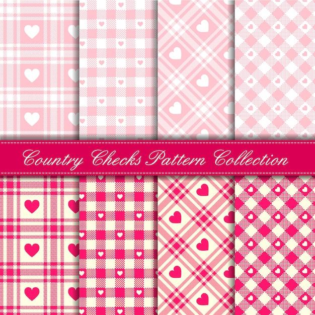 Pays de fille bébé rose vérifie avec la collection de modèle sans couture de coeurs Vecteur Premium