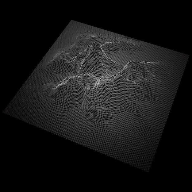 Paysage Abstrait Avec Terrain De Montagne Filaire Vecteur gratuit