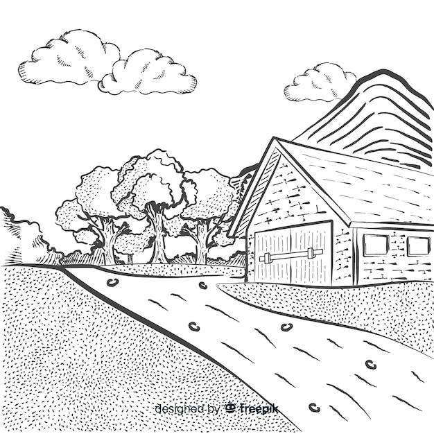 Paysage agricole dessiné à la main Vecteur gratuit