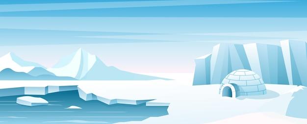 Paysage Arctique Avec Illustration De La Maison De Glace Cabane Abri Construite En Neige Bâtiment Esquimau Vecteur Premium