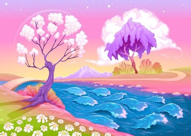 Paysage astral avec des arbres et rivière vector illustration Vecteur gratuit