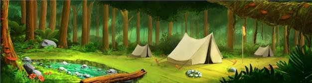 Paysage au milieu de la forêt tropicale verte avec tente et rivière Vecteur Premium