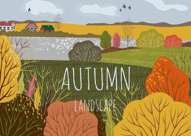 Paysage D'automne. Illustration De Vecteur Plat Horizontal Mignon De Fond De Nature Avec Colline Vecteur Premium