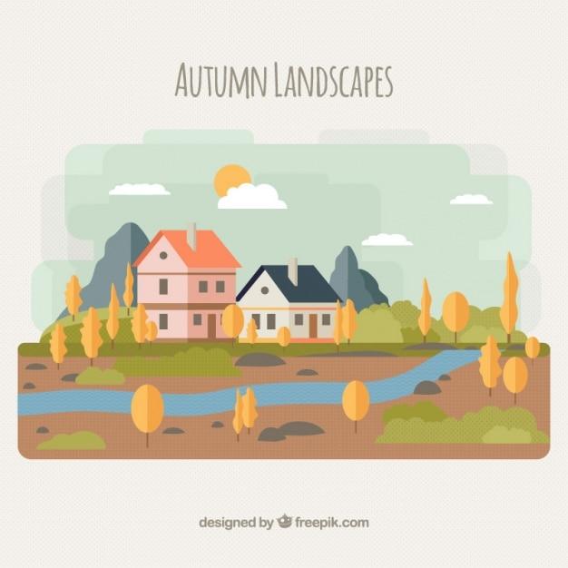 Paysage d'automne avec une rivière et maisons Vecteur gratuit