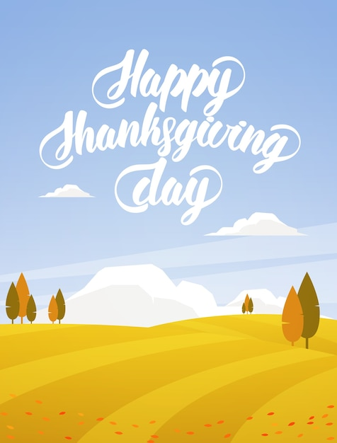 Paysage D'automne Vertical Avec Champs, Arbres Et Lettrage à La Main De Happy Thanksgiving Day. Vecteur Premium