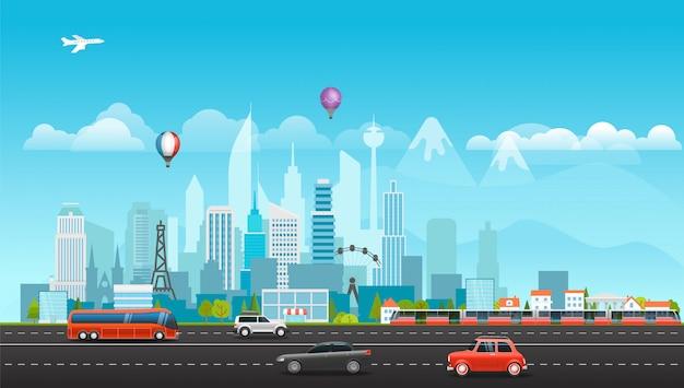 Paysage avec des bâtiments, des montagnes et des véhicules. Vecteur Premium